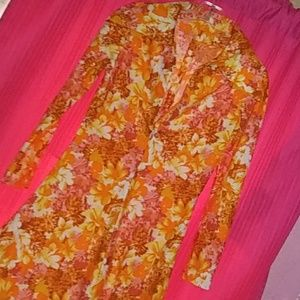 Vintage 1970s Disco Maxi Dress Orange Pink S